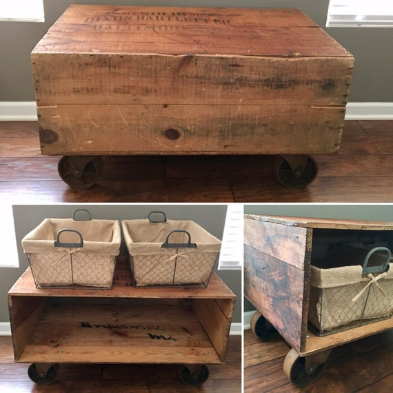 Antique Wood Storage Shipping Crate Coffee Table By Styleofages