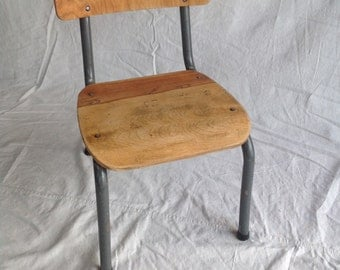 Midcentury school chairs / wooden seat and back / 60's or 70's