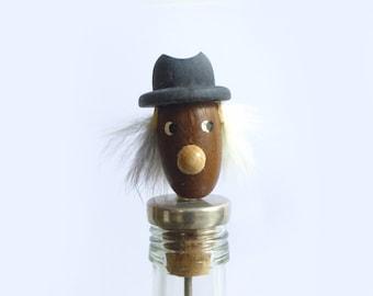Modern vintage bottle cap style Hans Bolling Danish teak - Figurine 1960 wood decoration - Bottle topper collection