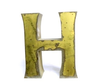 Large letter H sign industrial vintage 3D brass - metal sign from old store initial french mid century recovered