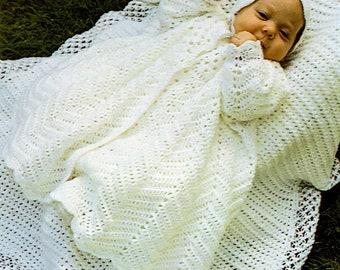 Vintage Christening Coat & Bonnet Crochet Pattern-Baby Girl