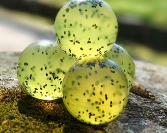Lemon Verbena Handmade Glycerin Vegan Soap Balls with Kalonji Seeds