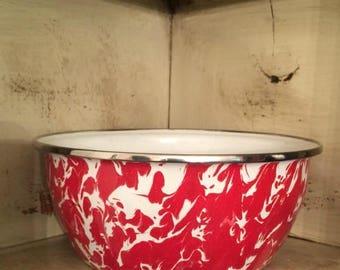Red Graniteware Bowl