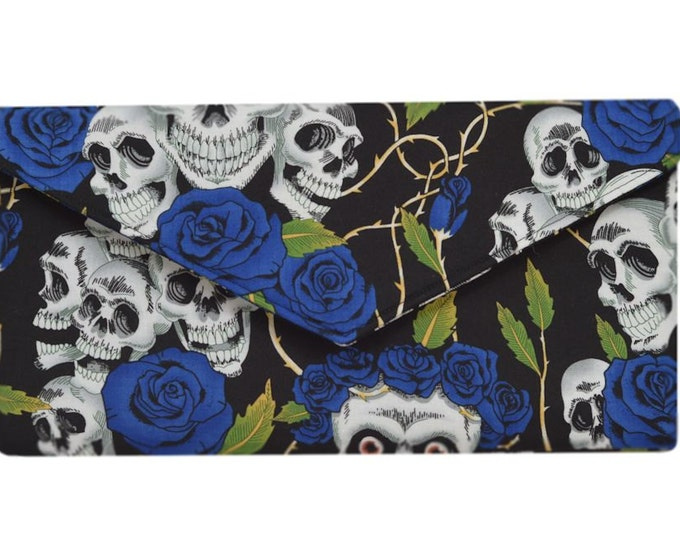 Day of the Dead Blue Skulls & Roses  Clutch Bag