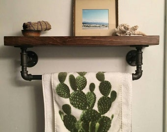 Steel and wood towel rack with shelf || pipe wood towel rack || rustic bathroom shelf || rustic bathroom decor shelf