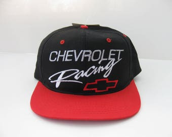 Chevrolet Racing Snapback Hat Cap Black Red Chevy