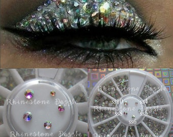 Eye Makeup Rhinestones in Storage Wheel, Crystal AB, ss4, ss5, ss6, ss8, ss10, Face Gems, Face Jewelry, Face Rhinestones, Eye Makeup Bling