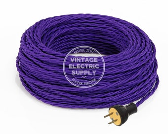 Purple Cordset - Cloth Covered Twisted Rewire Set - Antique Lamp & Fan Cord