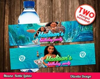 Moana Bottle Labels - Vaiana Labels Printable DIY, Printable 8.5x11, Moana favor, Vaiana Bottle Labels - Customized Digital File