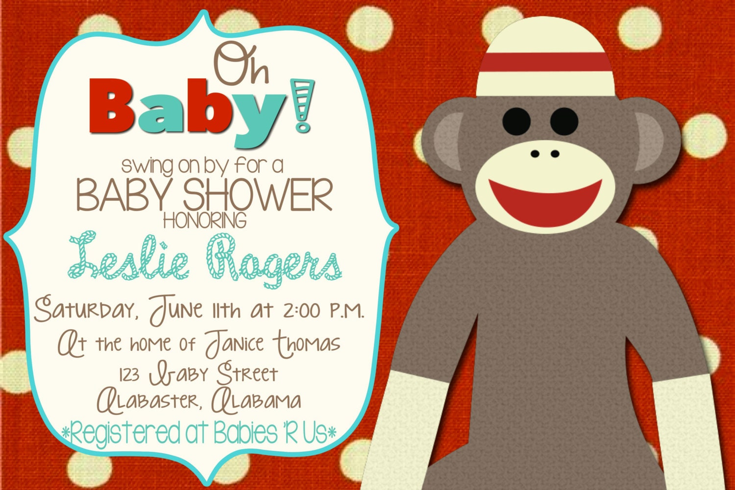 Sock Monkey Baby Shower Invitation- Gender Neutral- Custom Colors ...