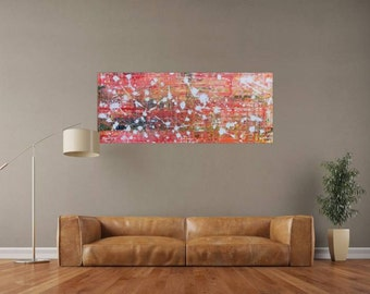 XXL abstract painting 60x150cm modern acrylic art on canvas and frame #611