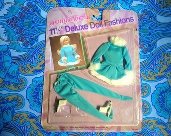 Vintage 1984 Shillman Young 'n Lovely 11.5 inch deluxe doll clothing Ice Skating Time clothes boots costume for Sindy, Barbie, Brooke, MOC