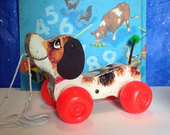 Vintage Little Snoopy Dog Pull Toy, Vintage Fisher Price Toys, Vintage dog pull toy