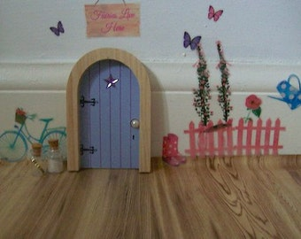 purple fairy door wooden fairy door and wall stickers with fairy dust and magic key