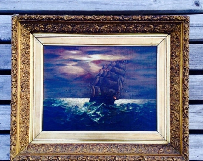 Storewide 25% Off SALE Original Nils Greene Signed Oil On Board Painting Featuring 17th C. Pirate Ship Traveling Rough Seas by Night With Go