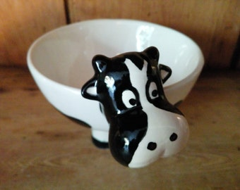 Hand Painted Ceramic Cow Cereal Bowl