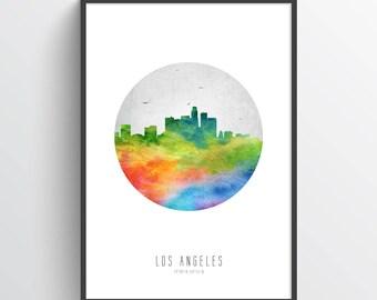 Los Angeles Skyline Poster, Los Angeles Cityscape, Los Angeles Art, Los Angeles Print, Los Angeles Decor, Home Decor, Gift Idea, USCALA20P