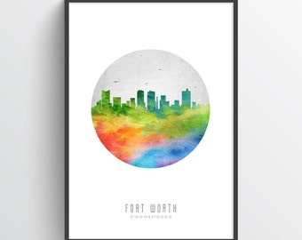 Fort Worth Skyline Poster, Fort Worth Cityscape, Fort Worth Print, Fort Worth Art, Fort Worth Decor, Home Decor, Gift Idea, USTXFW20P