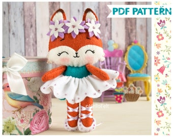 PDF PATTERN: Foxy Ballerina. Felt Doll Fox Ballerina Sewing PDF Pattern, Doll Pattern. Plush Pattern.