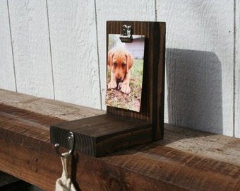 Wooden Stocking Holder With Picture Clip - by Wheat State Rustic