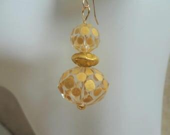 Gold Polka Dot Glass Drop Fashion Earring