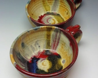Set of 2 Soup Bowls Red Splash, Soup Mugs, Pottery Bowl, Handmade Pottery, Stoneware Bowl, Ayers Pottery