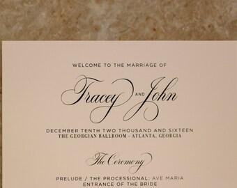 Custom Printed Wedding Programs: Elegant / Formal / Script