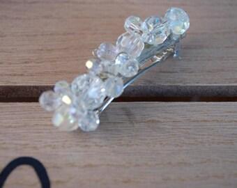 Barette crystal clip.  Wedding hair clip.  Crystal hair accessory.  Small clip.