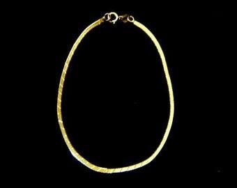 Women's Vintage Estate 10K Yellow Gold Herringbone Bracelet 0.7g #E1072