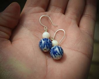 Sterling Silver Dangle Earrings Porcelain and River Shell Beads, White, Simple, Great Gift