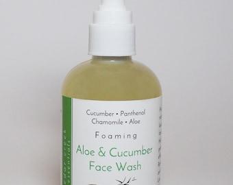 All Natural Skincare, Organic Skin Care,  Aloe & Cucumber Foaming Face Wash,  Vegan Skincare, Sensitive Skin,