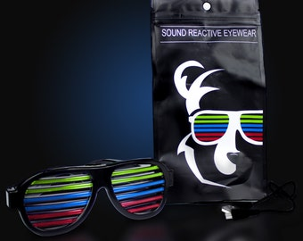 Sound Activated Slotted Glasses LED glasses Light Up on sound Great for Rave Gear,Burning Man ,Ultra rave party accessories