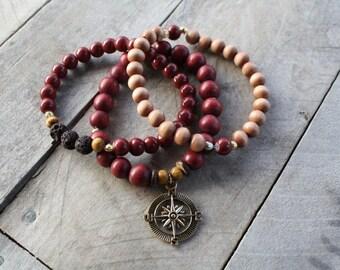 Set of 3 Wooden Beaded Bracelets Compass Charm