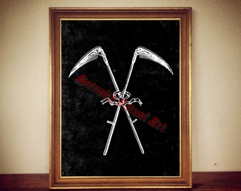 Crossed scythes, Death Reaper, antiqued print, Occult, altar decor, Voodoo print, magic poster, gothic art  #443