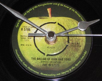 "The Beatles the ballad of john and yoko 7"" vinyl record clock"
