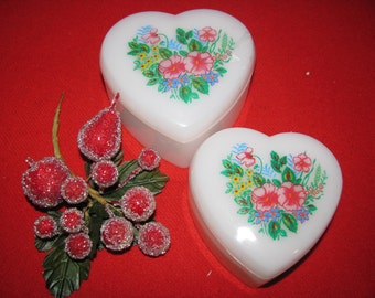 Vintage  Two Heart Shaped Plastic Boxes - Made in Hong Kong