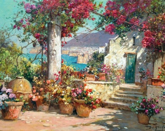 "Italian painting ""Terrazza a Sorrento"" original oil canvas painter G.Di Guida Italy charm decor Sorrento bloomed terrace"