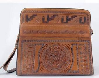 Vintage 70s Leather Aztec Bag