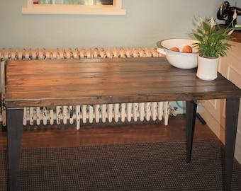 Rustic Handmade Industrial Kitchen Table Iron Legs