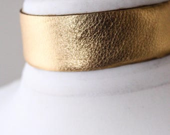 Gold Leather Choker | gold Choker Necklace | gold Leather Jewellery | Red Leather Choker | bdsm Choker wear