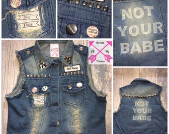 Studded denim jacket, Punk jacket, Custom jacket, Custom Denim jacket, Stud jacket, Patch jacket, Not Your Babe Jacket,
