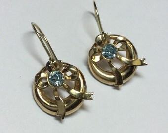 Vintage Art Deco 10k Yellow Gold Blue Zircon Bow Dangle Earrings