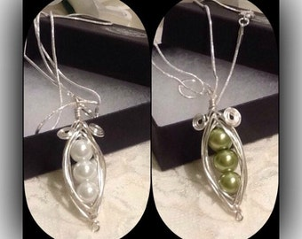 Silver Plated Pea Pod Pendant Necklace in White or Green by Emerald Forest Designs