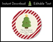 Christmas Favor Tags, Christmas Tags, Holiday Favor Tags, Holiday Tags, Christmas Tree Favor Tags, Holiday Labels Instant Download, Editable