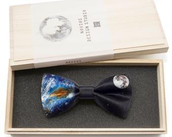 Earth with Moon Bowtie - Modern Boys Bowtie, Toddler Bowtie Toddler Bow tie, Groomsmen bow tie, Pre Tied and Adjustable Novioshk, H0319