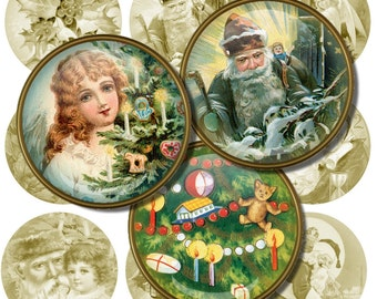Vintage Christmas Postcards, Digital Collage Sheet, 2 inch Circles, Printable Holiday Images, Round Christmas Paintings, Digital Download g9