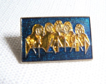 Vintage 80s Def Leppard Blue and Gold Enamel Pin / Button / Badge
