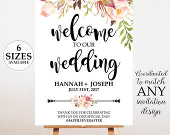 Watercolor Floral Wedding Welcome Poster, Wedding Welcome Sign, Wedding Poster Board, Welcome Sign, Wedding Decor - PRINTABLE DESIGN
