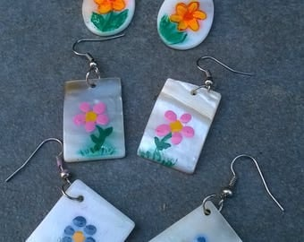 Hand Painted Flower Mother-of-Pearl Earrings