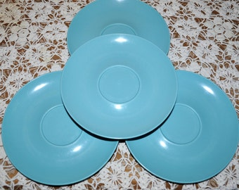 Vintage Teal Blue Stetson Melmac Tea Saucers, Set of 4